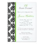 5x7 Lime Green Damask Birthday Party Invitation