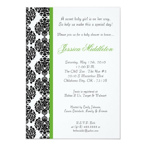 5x7 Lime Green Damask Lace Baby Shower Invitation