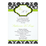 5x7 Lime Green Damask Quinceanera Invitation