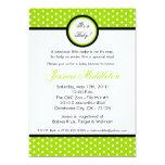 5x7 Lime Green Polka Dot Baby Shower Invitation