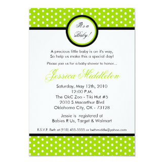 5x7 Lime Green Polka Dot Baby Shower Invitation