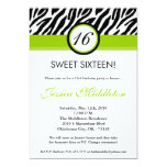 5x7 Lime Green Zebra 16th Birthday Invitation