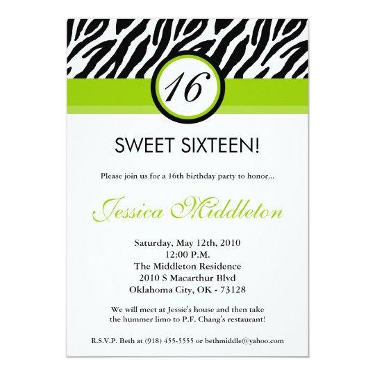 5x7 Lime Green Zebra 16th Birthday Invitation Zazzle Com