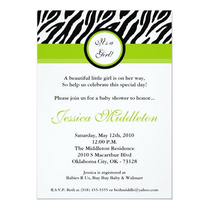 5x7 Lime Green Zebra Print Baby Shower Invitation