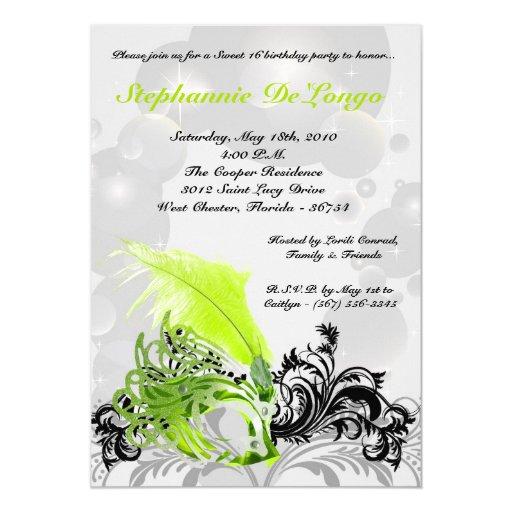 5x7 Lime Masquerade Sweet 16 Birthday Invitation