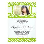 5x7 Lime Zebra Print Patter Quinceanera Invitation