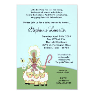 5x7 Little Bo Peep Nursery Baby Shower Invitation
