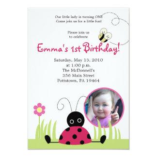 5x7 Little Ladybug *PHOTO* Spring Birthday 5x7 Paper Invitation Card