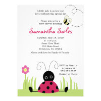 5x7 Little Ladybug Spring Baby Shower Invitation