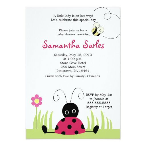 5x7 Little Ladybug Spring Baby Shower Invitation