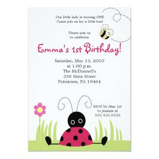 "5x7 Little Ladybug Spring Birthday Invitation 5"" X 7"" Invitation Card"