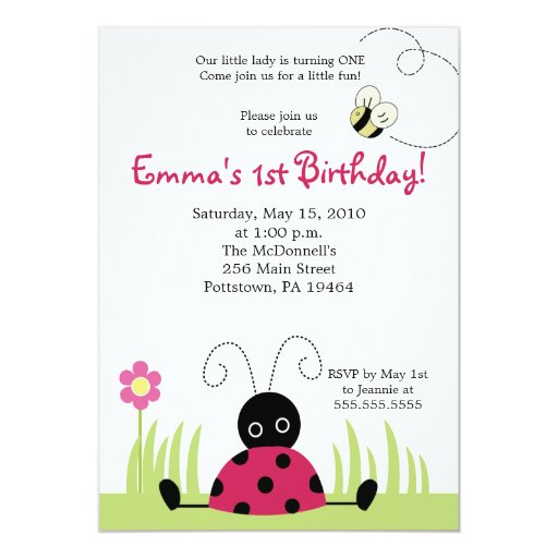 5x7 Little Ladybug Spring Birthday Invitation