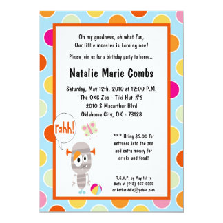 5x7 Little Monster  Birthday Party Invitation
