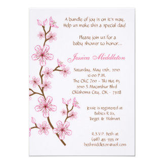 5x7 Lt Pink Cherry Blossom Baby Shower Invitation