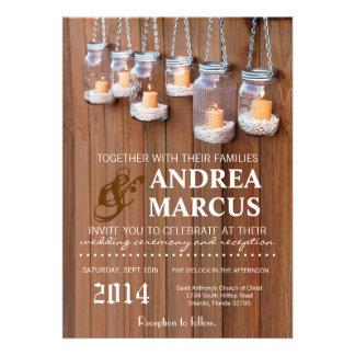 5x7 Mason Jar Candle Lights Nig Wedding Invitation Announcements