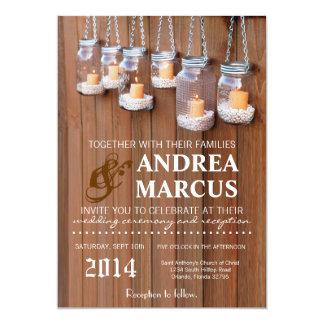 5x7 Mason Jar Candle Lights Nig Wedding Invitation