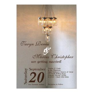 5x7 Mason Jar Chandelier Candle Wedding Invitation