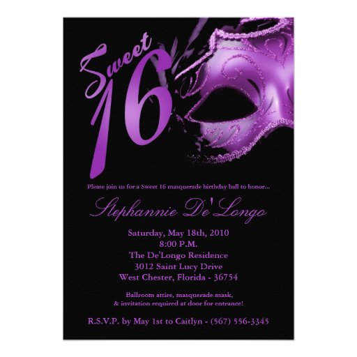 Masquerade Ball Sweet 16 Invitations for awesome invitations example