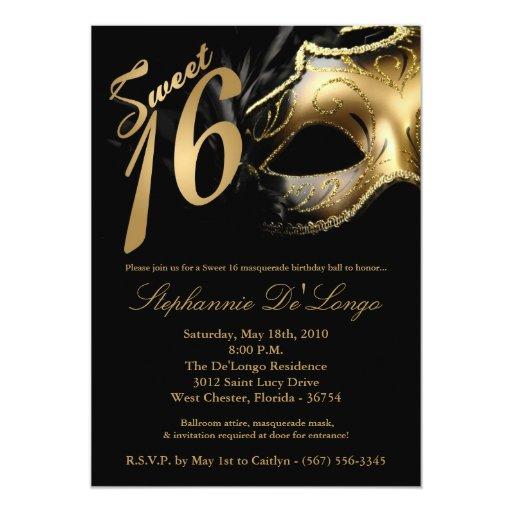 "5x7 Masquerade Mask Sweet 16 Birthday Invitation 5"" X 7"" Invitation Card"