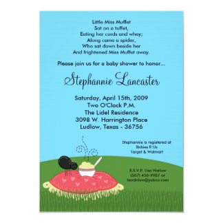 5x7 Miss Muffet Nursery Baby Shower Invitation