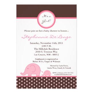 5x7 Mod Pink Girly Elephant Baby Shower Invitation