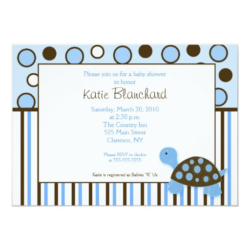 5x7 Mod Turtle Blue Trendy Dot Baby Shower Card