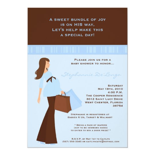 5x7 Modern Mod Mom Shopping Baby Shower Invitation