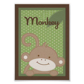 "5x7 ""Monkey"" Jungle Safari Baby Bedding Wall Art"
