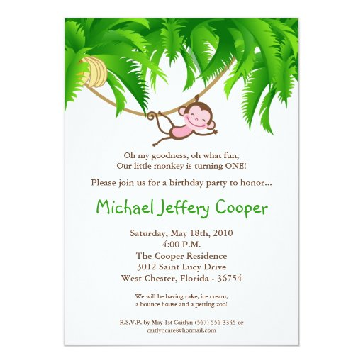 5x7 Monkey Jungle Safari Birthday Party Invitation