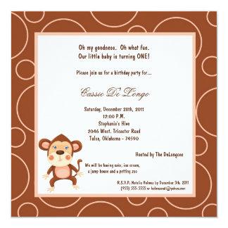 5x7 Monkey Pok-a-Dot Birthday Party Invite