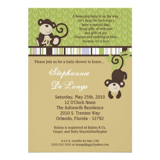 5x7 Monkey Time Zoo Animal Baby Shower Invitation Custom Announcements