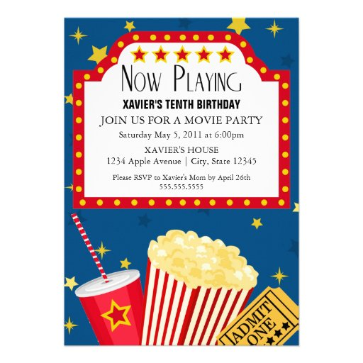 Personalized birthday ticket invitations custominvitations4u 5x7 movie party invite stopboris Gallery