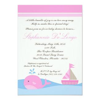 5x7 Naut Sail Boat Whale Baby Shower Invitation