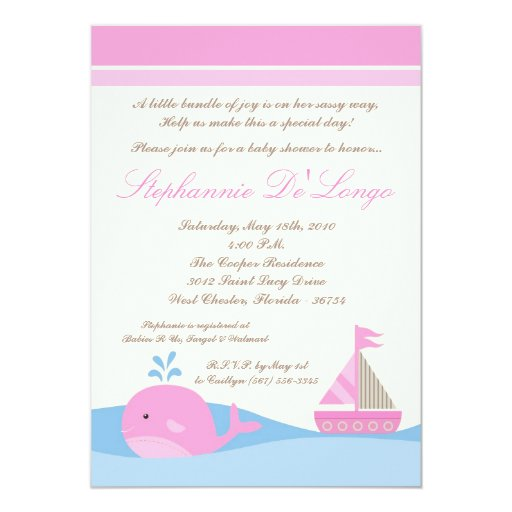 5x7 Naut Sail Boat Whale Baby Shower Invitation