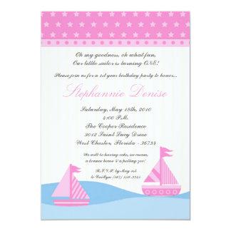 5x7 Naut Sail Boat Whale Birthday Party Invitation