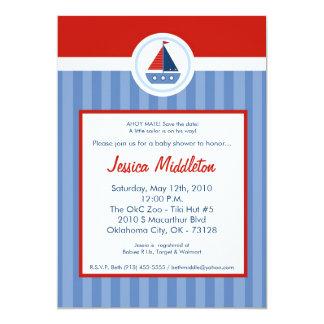 5x7 Nautic Sailor Sail Boat Baby Shower Invitation