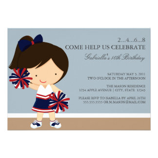 5x7 Navy Red Cheerleader Birthday Party Invite