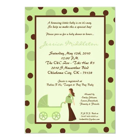 5x7 Neut Green Mom Carriage Baby Shower Invitation