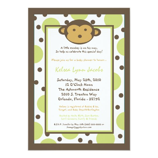 5x7 Neutr Modern Mod Monkey Baby Shower Invitation