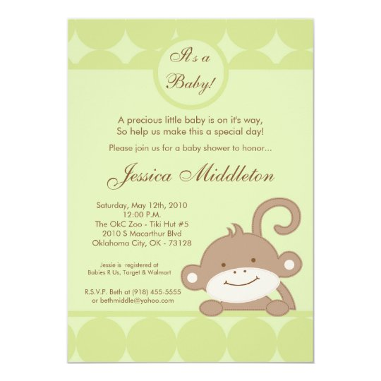 5x7 Neutral PolkaDot Monkey Baby Shower Invitation