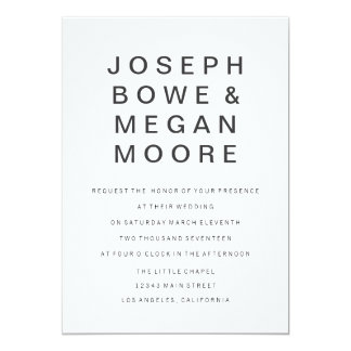 5x7 New Goth Minimalist Wedding Invitation