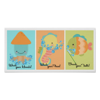 5x7 Ocean Fish Squid Sea Horse Bathroom Wall Art