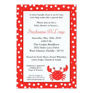 5x7 Ocean Sea Life Red Crab Baby Shower Invitation