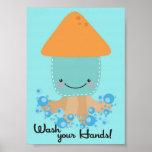 5x7 Ocean Squid Wash Your Hands Bathroom Wall Art Posters