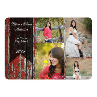 5x7 Old Red Barn Wood Weather Senior Announcement