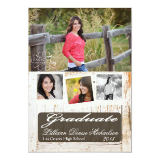 5x7 Old White Barn Wood Weathe Senior Announcement