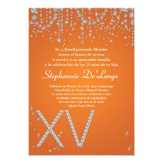 5x7 Orange Diamond Quinceanera Birthday Invitation