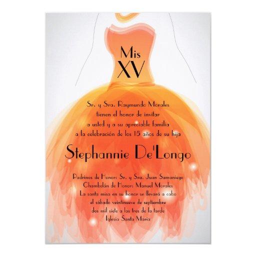 "5x7 Orange Dress Quinceanera Birthday Invitation 5"" X 7"" Invitation Card"
