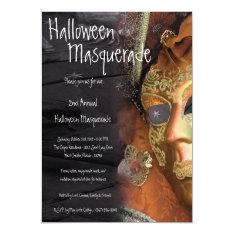 5x7 Orange Masquerade Halloween Costume Invitation at Zazzle