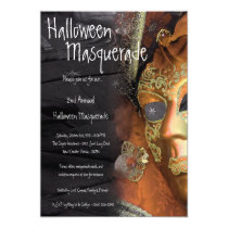 5x7 Orange Masquerade Halloween Costume Invitation